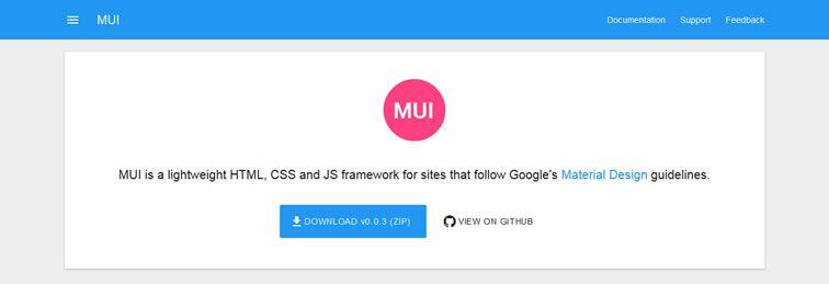 MUI lightweight Material Design web framework