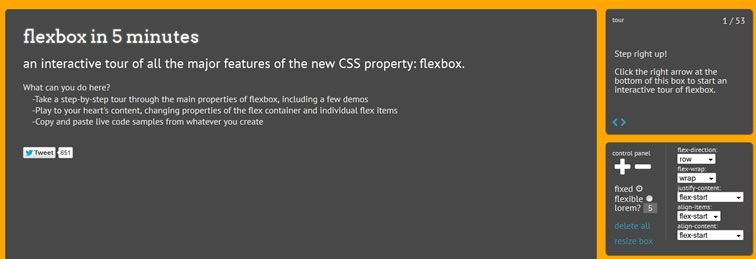 flexbox 5 minutes interactive tour major features CSS property