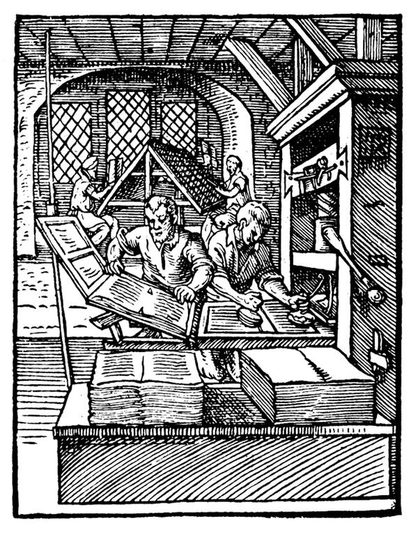 Early wooden printing press, depicted in 1568