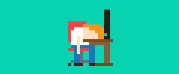 Pixel art people designer head on desk
