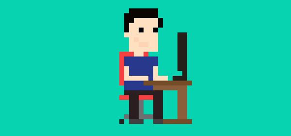 Pixel art people designer head content
