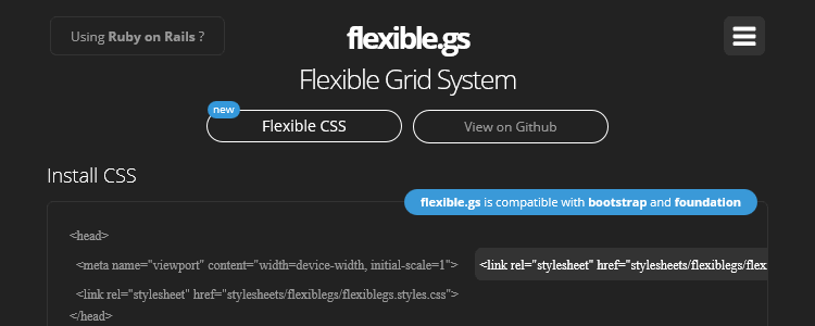 flexible.gs responsive flexible grid system CSS framework