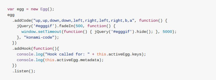 egg.js simple javascript library easter eggs web pages