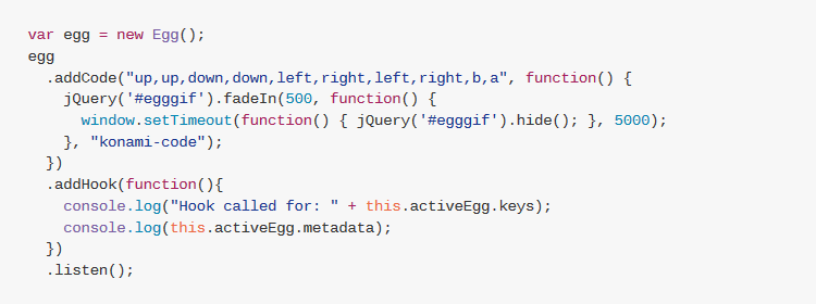 egg.js, a simple javascript library to add easter eggs to web pages