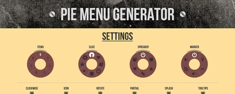 A super simple Pie Menu Generator