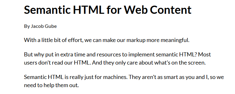 Semantic HTML for Web Content