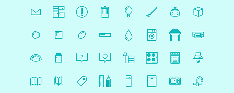 Home Layout Icon Set 32 Icons, AI