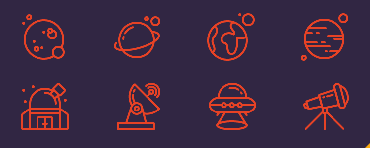 Space Icons & Pattern 16 Icons, EPS