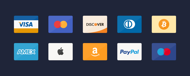 Flat Credit Cards Icons PSD