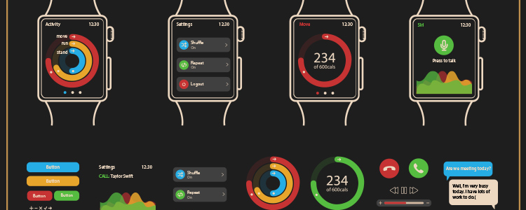 Apple Watch GUI Template AI