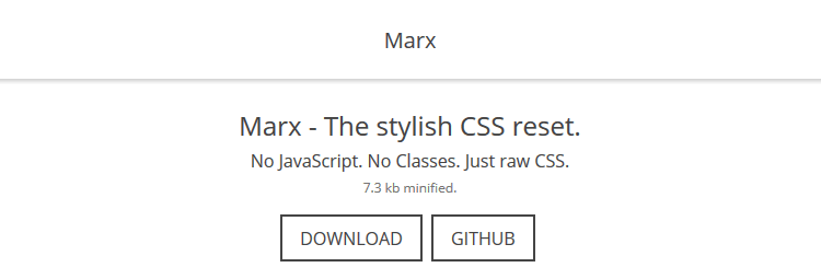 Marx stylish CSS reset no Javacript Classes raw