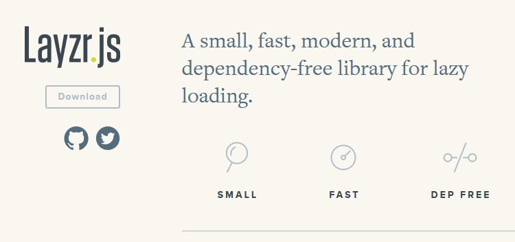 Layzr.js, a small, fast, modern, and dependency-free library for lazy loading