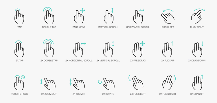 Freebie: A set of 50+ vector free Gesture Icons