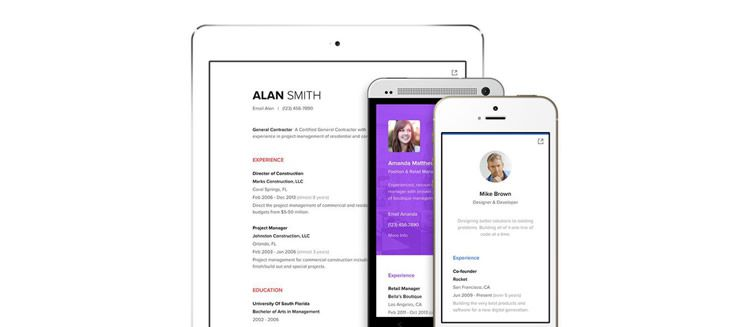 Represent creative resume web app design