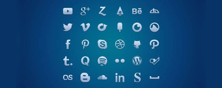 icon font free Social Media Glyph Set
