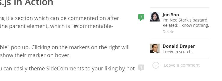 Side Comments a UI component to give you Medium-style comment management