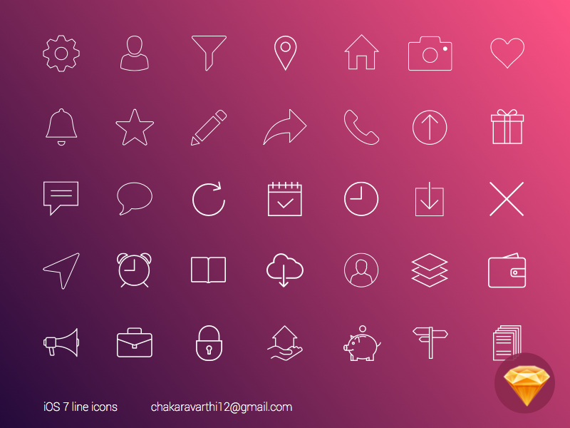 Freebie iOS7 Line Icons Sketch resources web design weekly