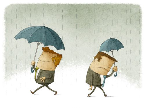Men with big and small umbrellas a symbol of their success and failure in business