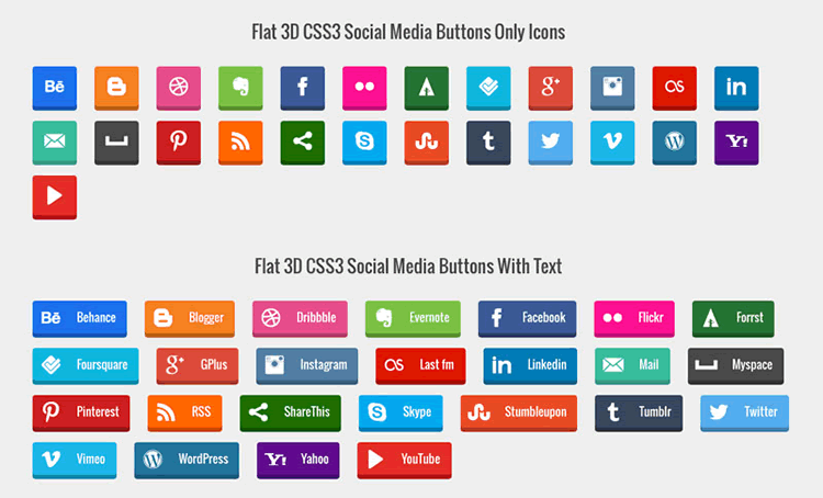 Freebie: CSS3 Social Media Button Set