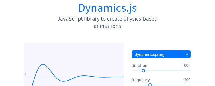 Dynamics.js Javascript library creating physics-based CSS animations