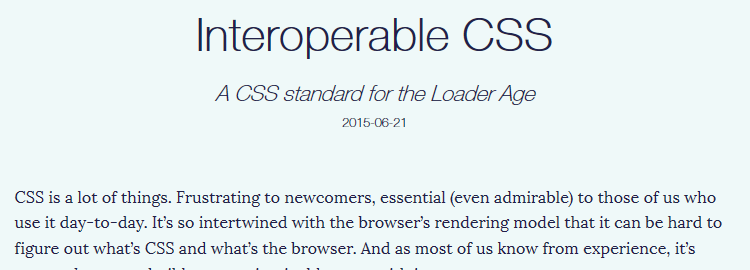 Interoperable CSS
