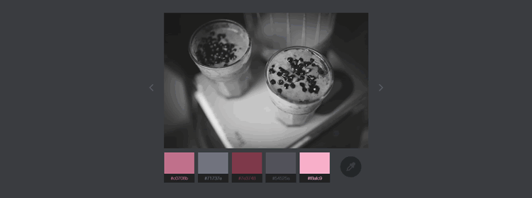 Color Extraction Effect, a slideshow with a color palette creation effect using CSS Filters and Vibrant.js