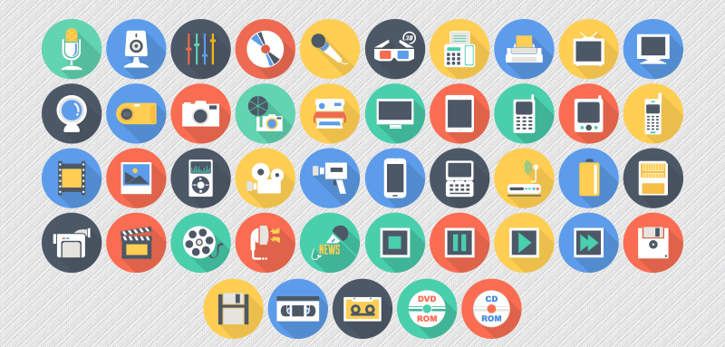 Freebie Flat Long Shadow Multimedia Icons AI