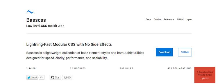 Basscss lightweight collection base element styles immutable utilities