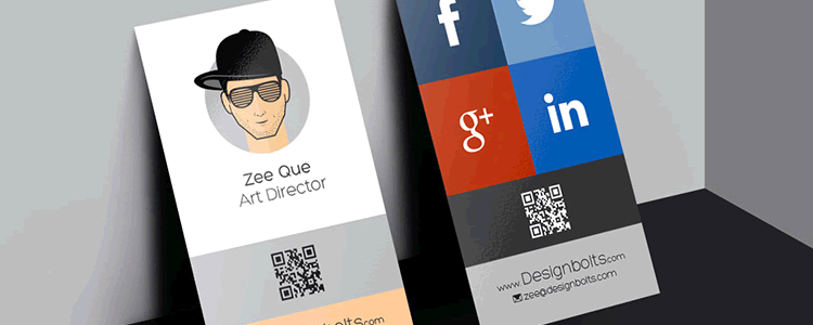 Vertical Business Card Design & Mockup