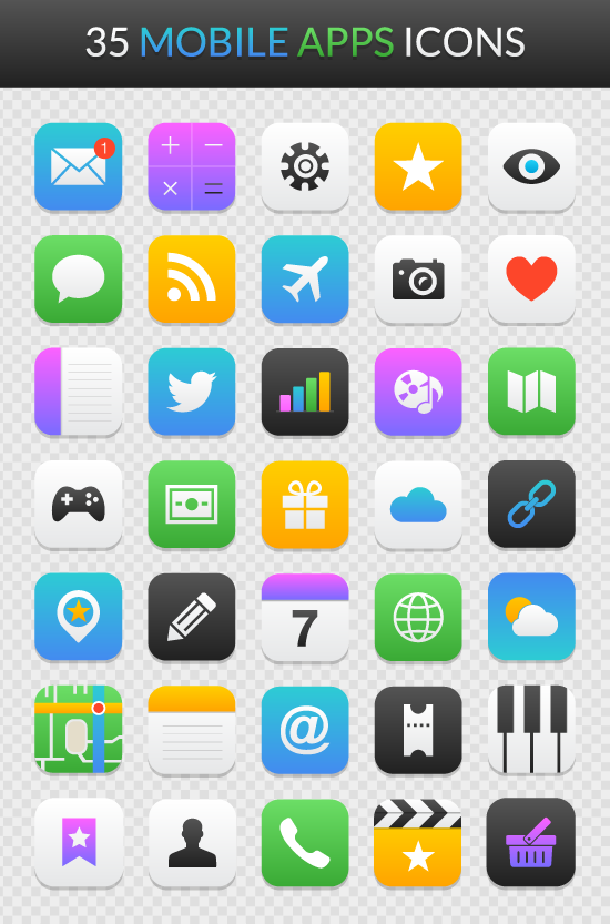 mobile app icon set free