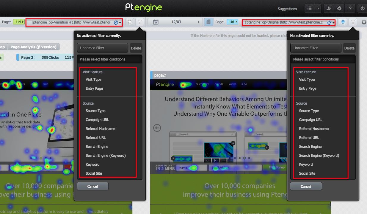 Ptengine scroll heat map, scroll reach maps attention heatmaps click heatmaps
