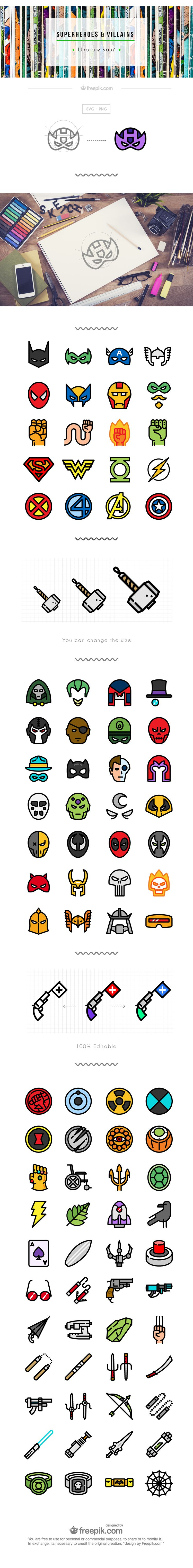 Superhero icon set flat free png svg