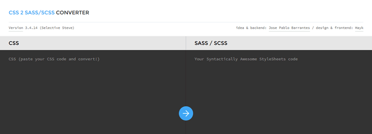 css2sass web-based app converting CSS snippets Syntactically Awesome StyleSheets code