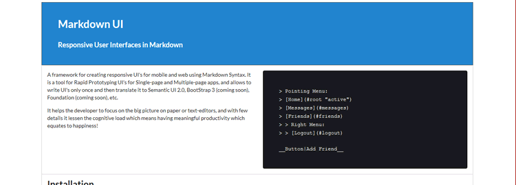 Markdown UI responsive User Interfaces in Markdown
