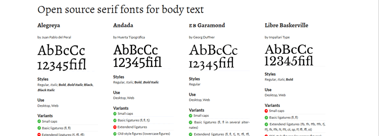 Nofont open-source serif fonts for body text