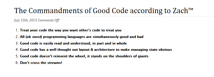 The Commandments of Good Code