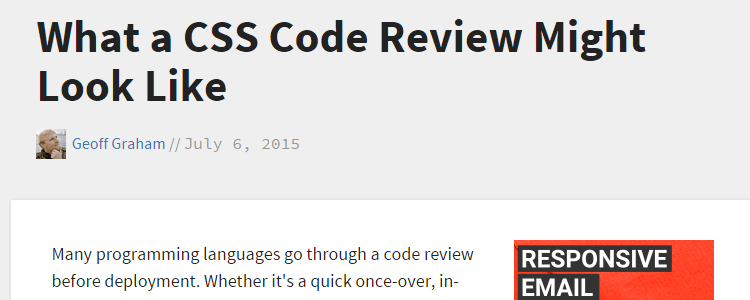 What a CSS Code Review Might Look Like