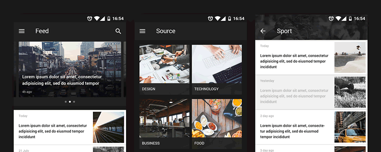 Android Reader UI Kit psd