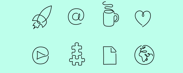 One Line Startup Icons