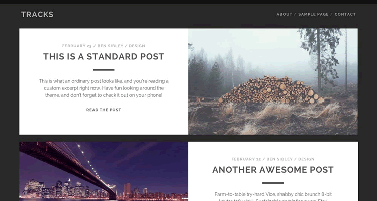 Tracks bold theme free wordpress photographers bloggers