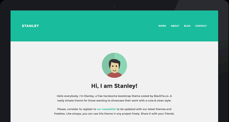StanleyWP flat theme free wordpress designer work simple beautiful