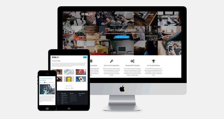BLDR multi-purpose WordPress free theme page builder