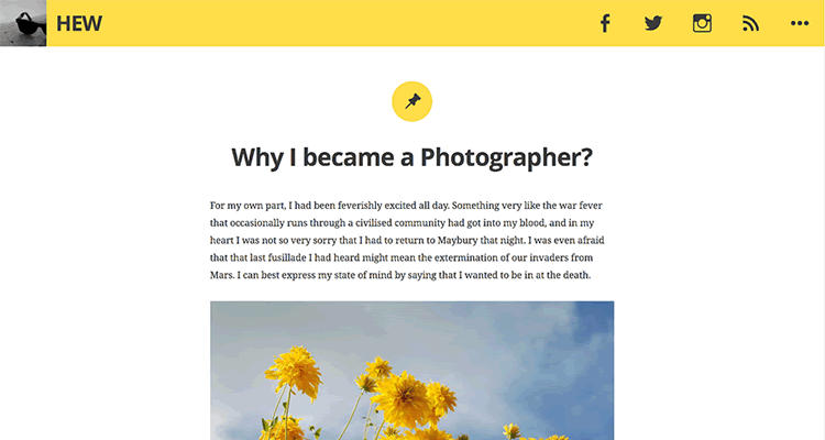Hew clean personal blog theme free wordpress