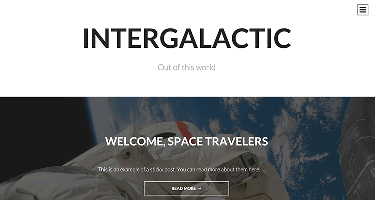 Intergalactic single-column theme distraction free environment reading content wordpress free