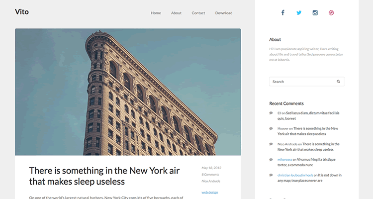 Vito clean spacious theme bloggers wordpress free