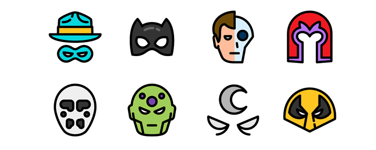 The Flat Superheroes & Villains Icon Set