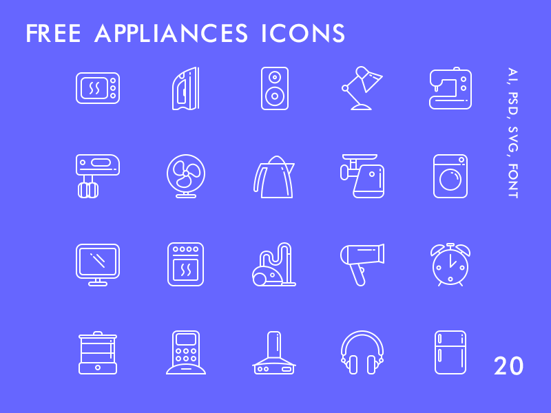 Freebie: 20 Free Appliances Icons