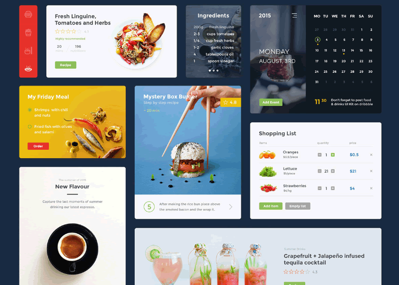 Freebie: Food & Drink UI Kit