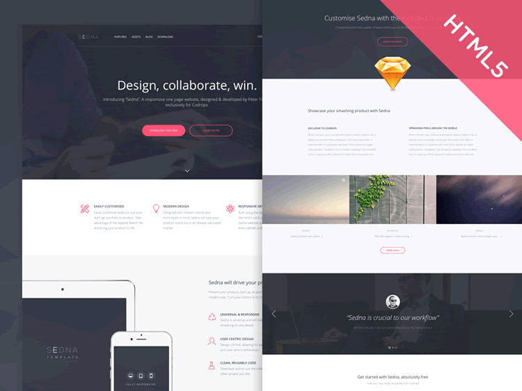 Freebie Sedna One Page Website Template