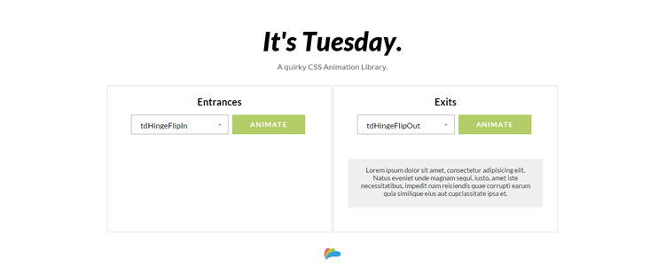 Tuesday CSS animation library